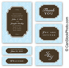 Vector Wedding Invitation Set