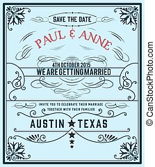 Vector. Wedding invitation vintage card.