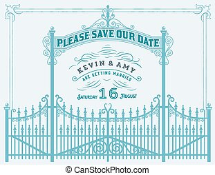 Vector. Wedding invitation vintage