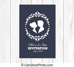 Vector wedding invitation with profile silhouettes of man ...