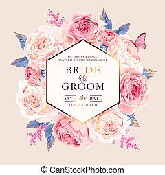 Vector wedding invitation with vintage pink roses