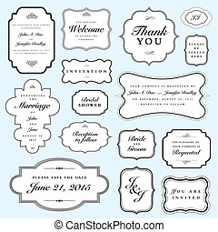Easy to edit! Clipart wedding invite frame set. Great for invitations and announcements. Vector file is an EPS 10 file. Vector editing features are only available with the EPS file. Watermarks are removed from the image you get after purchasing.