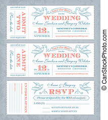 Vector Wedding Invite Tickets - 3 hi detail Vector Grunge...