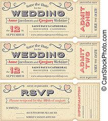 Vector Wedding Invite Tickets - 3 hi detail Vector Grunge...