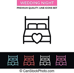 Vector wedding night icon. King size bed with heart. Thin line icon