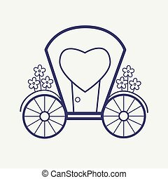 Vector Wedding Outline carriage icon set. Elegant Thin line style design.