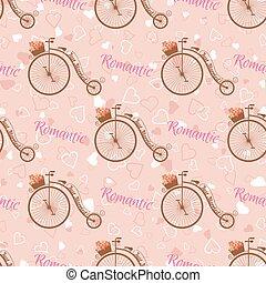 Vector wedding retro bicycle seamless pattern.
