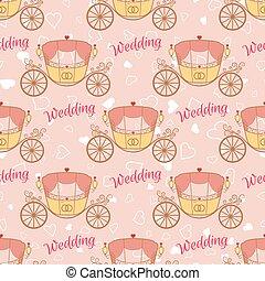 Vector wedding retro carriage seamless pattern