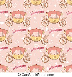 Vector wedding retro carriage seamless pattern - Vector pink...