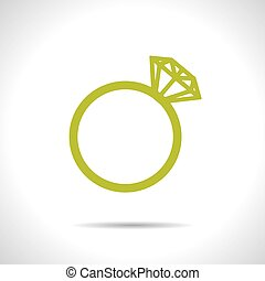 Vector wedding ring icon. Eps10 - Vector green flat wedding...
