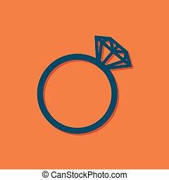 Vector blue wedding ring icon on orange background