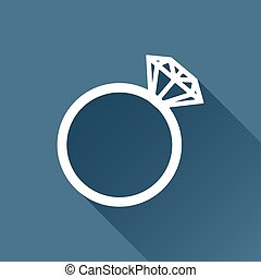 Vector wedding ring icon - Vector white wedding ring icon on...