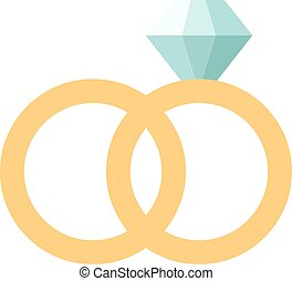 Vector wedding rings icon flat design. Wedding rings couple....