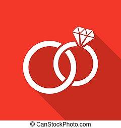 Vector wedding rings simple flat icon
