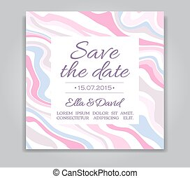 Vector Wedding Save the Date card with ink marble style...