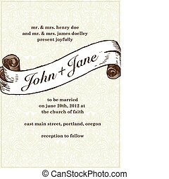 Vector Wedding Scroll and Pattern in Frame