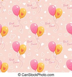Vector Wedding seamless pattern with balloons