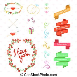 Vector wedding set with birds, hearts, arrows, ribbons, wreaths, flowers