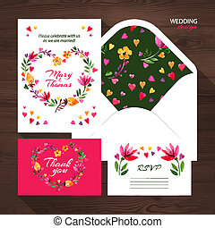 Vector wedding set with watercolor floral illustration.