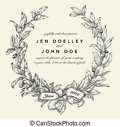 Vector Wedding Wreath Background. Easy to edit. Perfect for ...