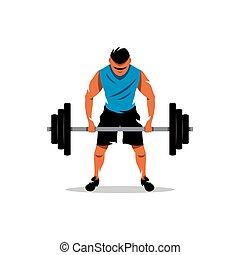 vector, weightlifting, caricatura, illustration.