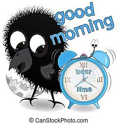 vector, weinig; niet zo(veel), goede morgen, illustratie, crow.