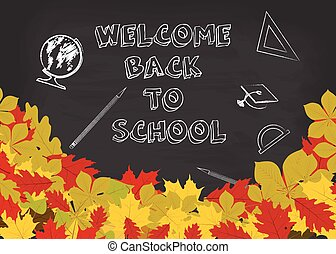 Vector welcome back to school background with chalkboard and autumn leaves.