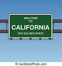 Vector - Welcome to California, the Golden State Interstate Highway overpass sign in a blue sky