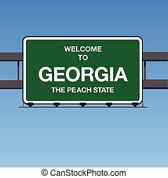 Vector - Welcome to Georgia the Peach State Interstate Highway overpass sign in a blue sky