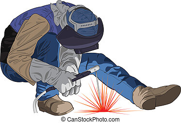 vector Welding worker - vector Illustration of worker that...