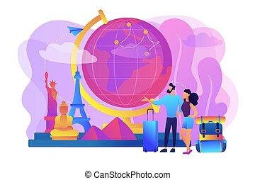 vector, wereld, concept, het reizen, illustratie