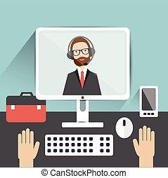 vector, werk, video, ilustration., candidate., interview., officier, plat