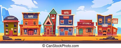 Western town with old wooden buildings. Wild west landscape for game gui. Vector cartoon illustration of wild west city street with catholic church, saloon, sheriff office, bank, hotel and store