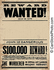Vector Western Wanted Reward Poster Template - Easy to edit...