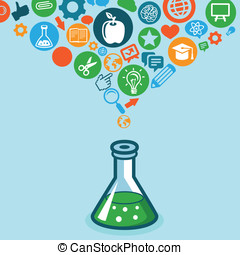 vector, wetenschap, concept, opleiding