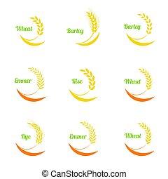 Vector wheat ears icons set.