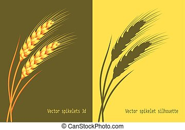 Vector wheat in 3d and silhouette on green and yellow background isolated. Vector.