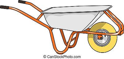 vector wheelbarrow - Hand wheel wheelbarrow isolated on a...