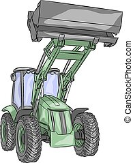 vector wheeled tractor - vector green heavy wheeled tractor...