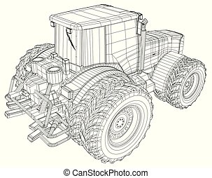 Vector wheeled tractor isolated on white background. Side ...