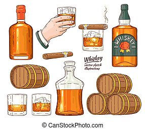 Vector whiskey alcohol symbols sketch icon set