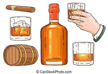 Vector whiskey alcohol symbols sketch icon set