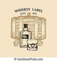Vector whiskey illustration. Logo, label with sketched wooden barrel, bottle, glass for restaurant, bar, cafe menu concept.