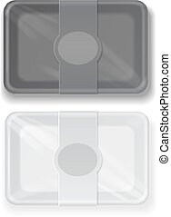 Vector white and black fast food box container packaging set...