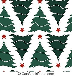 Vector white and green simple rows of alternate upside down christmas trees with red stars seamless background. Suitable for textile, gift wrap and wallpaper.