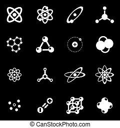 Vector white atom icon set