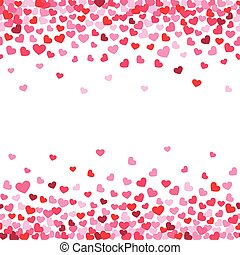 Vector white background decorating of falling valentine hearts confetti. Greeting card design