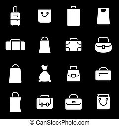 Vector white bag icons set