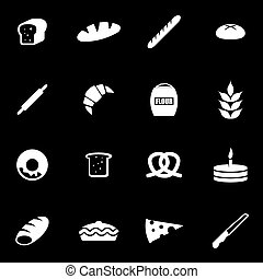 Vector white bakery icon set