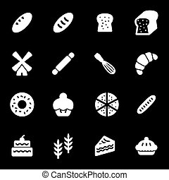 Vector white bakery icons set